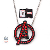 "Avengers Red ""A"" Logo Black IP Steel Necklace"