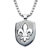 Hollis Bahringer Carbon Fiber Fleur de Lis Dog Tag Pendant with Chain