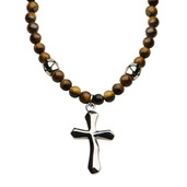 Tiger Eye Beads with Steel Cross Pendant Necklace
