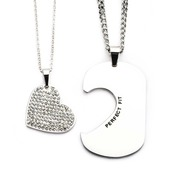 Stainless Steel His and Her Clear CZ Gem Heart and Dog Tag Pendant Set