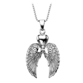 Steel Necklace with Double Winged Heart Pendant