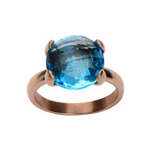 Rose Gold IP with Blue Gem Ring