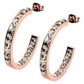 Rose Gold IP Classic Princess Crystal Inside Outside Hoop Earrings