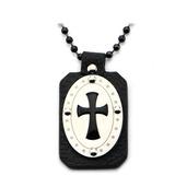 Black Leather, Steel & Onyx Cross Pendant w/ Chain