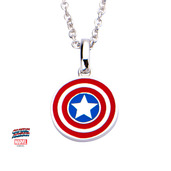 Marvel 925 Sterling Silver Captain America Shield Pendant with Chain