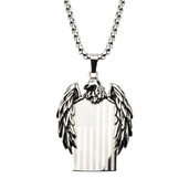Stainless Steel Eagle with American Flag Dog Tag Pendant with 24 inch Chain