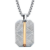Hollis Bahringer Rose Gold IP Bar Accent with Labyrintine Dog Tag Pendant  with Chain