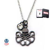 Black PVD Plated Cut Out Hydra and Clear CZ Pendant with Chain