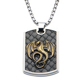 Hollis Bahringer Antique Stamped Brass Dragon Dog Tag Pendant with Chain