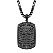 Stainless Steel Black IP with Black CZ Gem Hammered Dog Tag Pendant with Chain