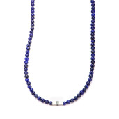Lapis Gemstone Stretch Necklace with Steel Accent
