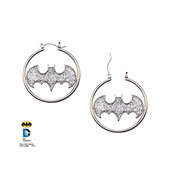 Silver Color Batman Cut with Glitter Hoop Earrings
