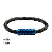 Black Leather Bracelet with Blue IP Patterned Magnetic Center Buckle