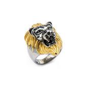 IP Gold & Steel Black Oxidized Lion Head Ring