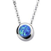 Black Synthetic Opal Pendant w/ Chain