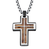 Hollis Bahringer Inlayed Palisander Rose Wood Cross Pendant  with Chain