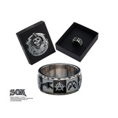 """Anarchy """"A"""", Crow and Gunsikcle Logo Ring"""