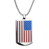 Steel American Flag Dog Tag Pendant with Chain