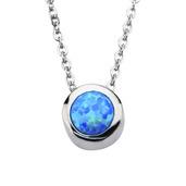 Blue Synthetic Opal Pendant w/ Chain