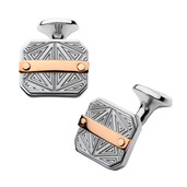 Hollis Bahringer Men's Bar Accent with Gray Steel Labyrintine Cuff Links