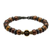 Brown and Black Beads in Cross & Skull Bracelet