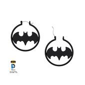 Matte Black Batman Cut Fashion Hoop Earrings
