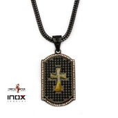 Black IP Tiger Eye Cross and CZ Dog Tag Pendant with  Wheat Chain