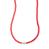 Red Howlite Gemstone Stretch Necklace with Steel Accent