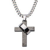 Polish Ring in Black IP Lord's Prayer Cross Pendant with Chain