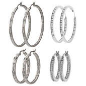 Inner and Outer CZ Matte Stone Hoops Earrings