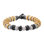 8mm White Howlite Beads with Taupe Wood Separators Bracelet