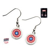 Captain America Red and Blue Shield Logo with Clear CZ Earrings