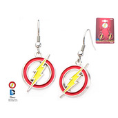 DC Comics Base Metal The Flash Logo with Stainless Steel Hook Earrings.