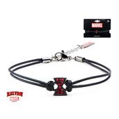 Black Widow Logo with Red Gem Black Leather Cord Bracelet