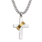 Gold IP Ring in Steel Cross Pendant with 24 inch Chain