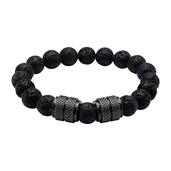 Black IP and Black Lava Beads Bracelet