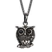 Women's Black Oxidized Owl Pendant with Chain