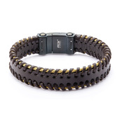 Black Leather with Gold IP Cable Edge Bracelet