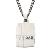 Geometric Design with Clear CZ's DAD Dog Tag Pendant with Chain