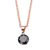 Rose Gold IP and Black CZ Solitaire Pendant with Chain