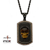 Black IP Tiger Eye Skull and CZ Dog Tag Pendant with Rope Chain