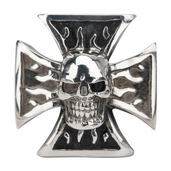 Black Oxidized Iron Cross Ring with Skull
