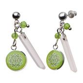 Green Heart Chakra Arts Earrings