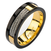IP Gold Inner Ring with Black Line & Inlayed Cables