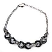 Steel Infinity Black Ceramic with CZ Bracelet