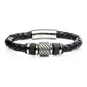 Black IP and Steel Bead in Black Braided Leather Bracelet