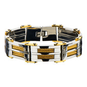 Gold IP & Steel Link with Multiple Gold Cable Inlayed Bracelet