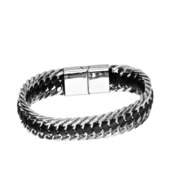 Black Leather Double Curb Chain Bracelet
