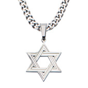 Steel Star of David Pendant with Chain