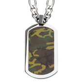 Steel Camo Army Dog Tag Pendant
